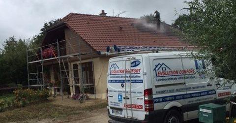 Traitement de toiture en cours